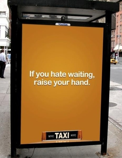 Taxi billboard ad at busstand