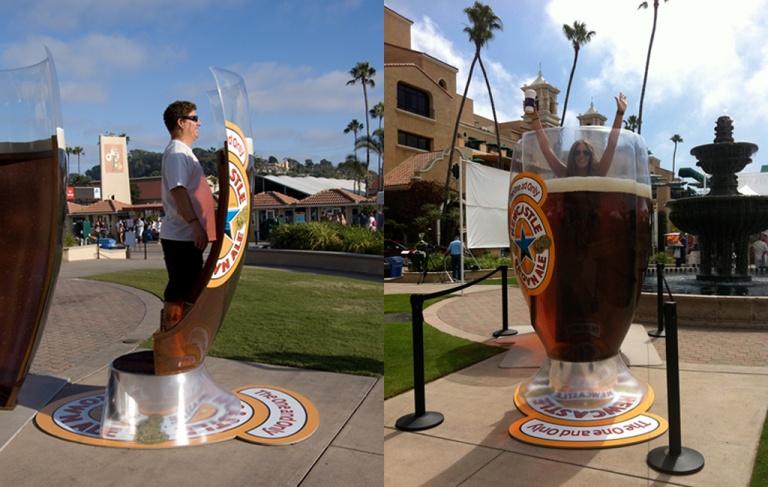 standing in a huge beer glass