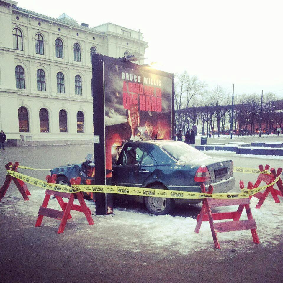 Die Hard - Car through billboard