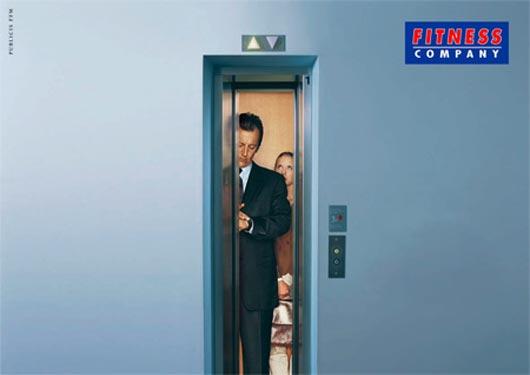 Small elevator door - Fitness ad