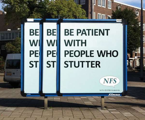 billboard marketing - be patient with people who stutter
