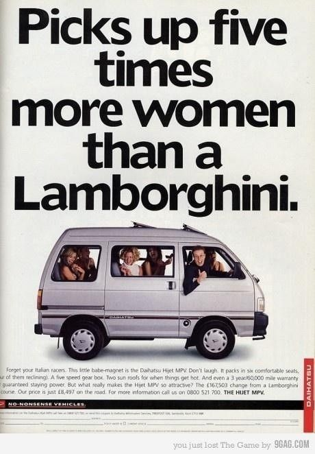 daihatsu ad - picks up five times more women than a lamborghini